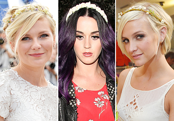 kirsten-dunst-katy-perry-ashlee-simpson-floral-headbands